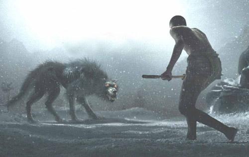300 spartalı filminden bir sahne, kurt ile çocuk karşı karşıya