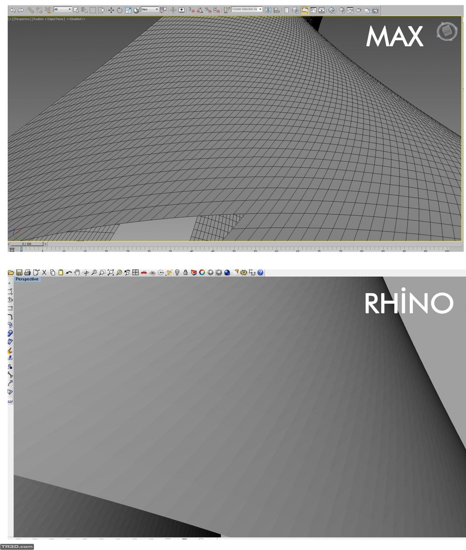 Max'den Rhino'ya atılan yüzeyin kırık olması