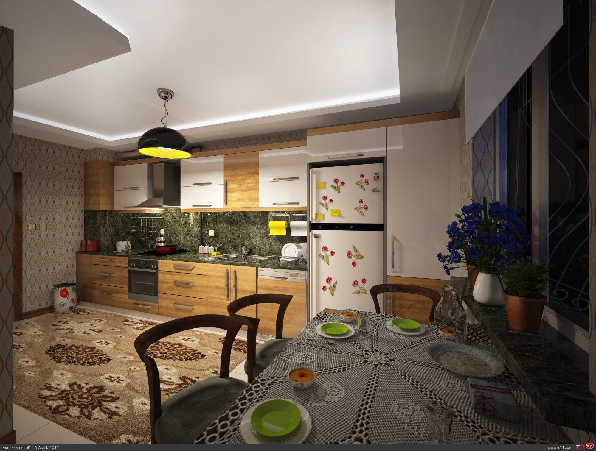 Turkish Mutfak gece ve gündüz render 1