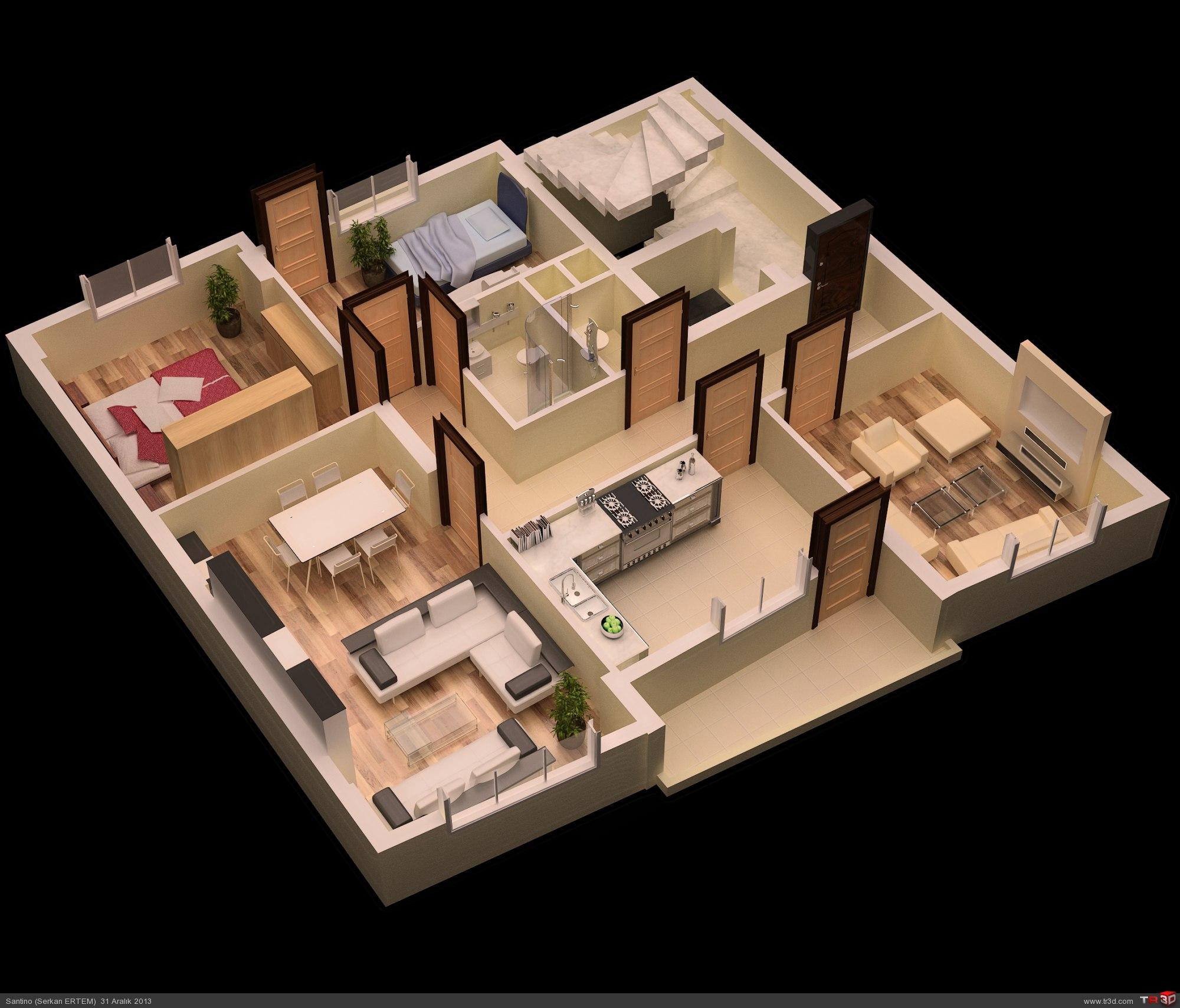 5 Bedroom Floor Plans 1 Story 3d Kat Planı Mimari Projeler