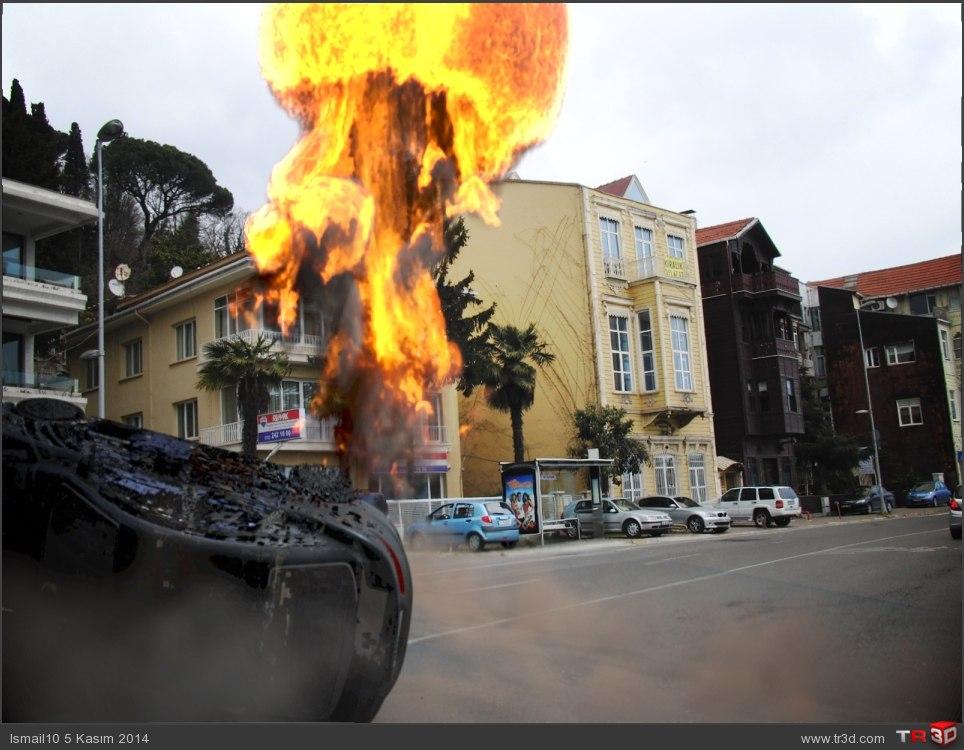 Araba ve patlama efekti