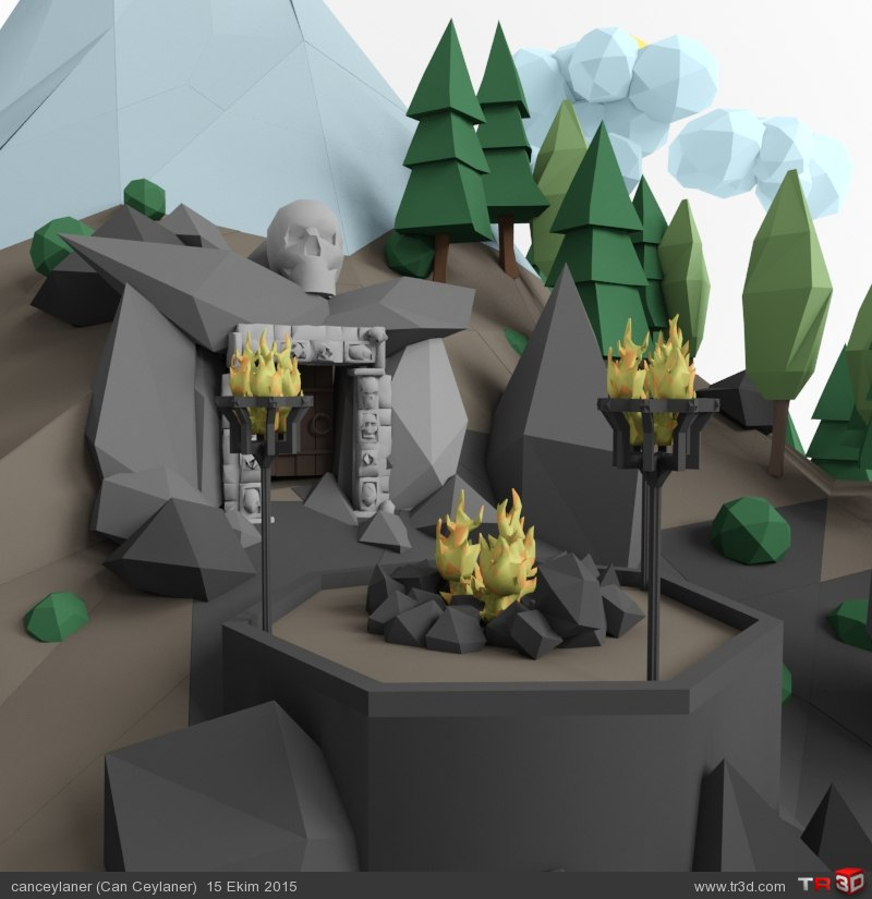 Mountain Temple /// Low Poly 3