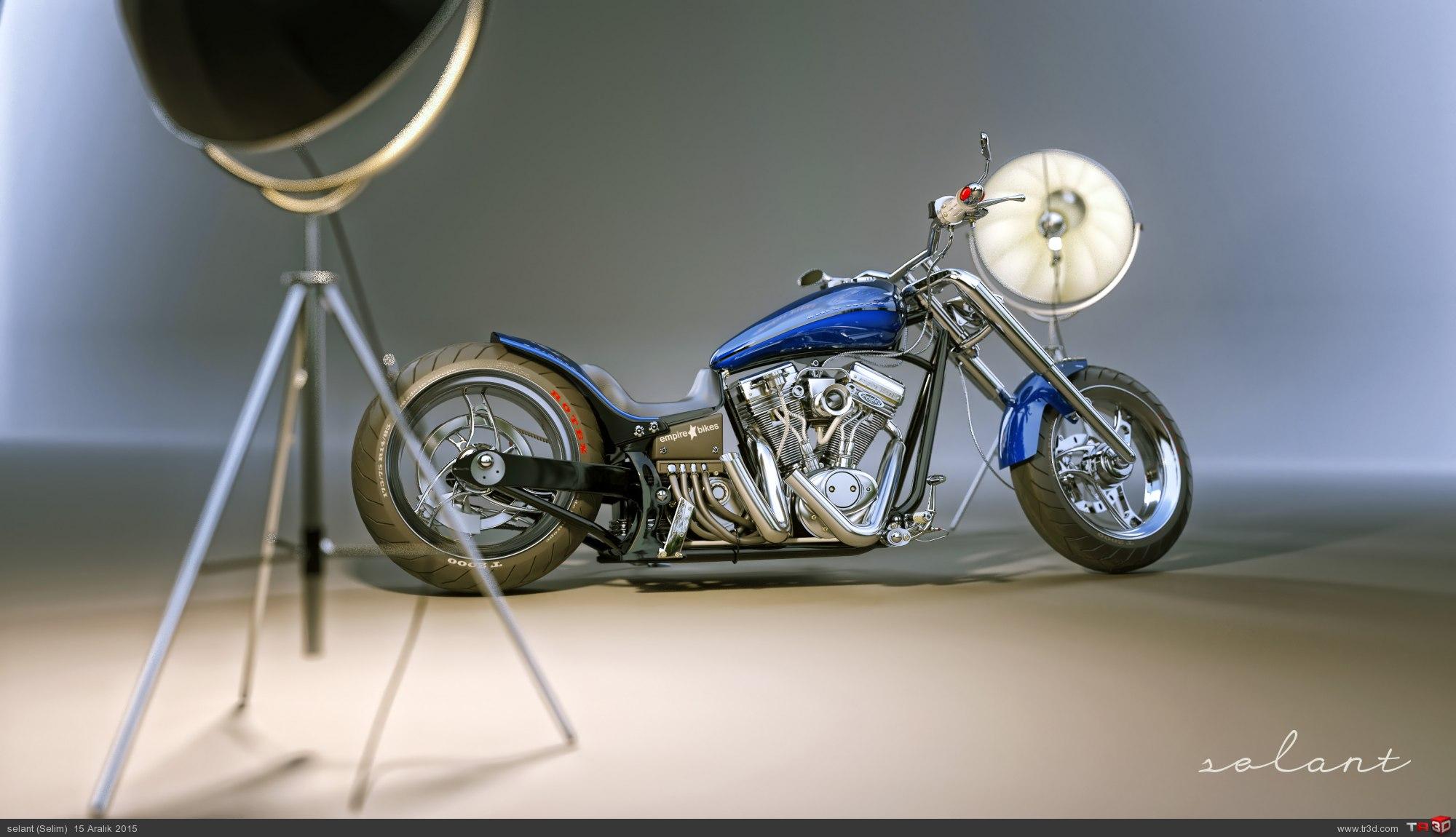 Chopper motosiklet stüdyo render