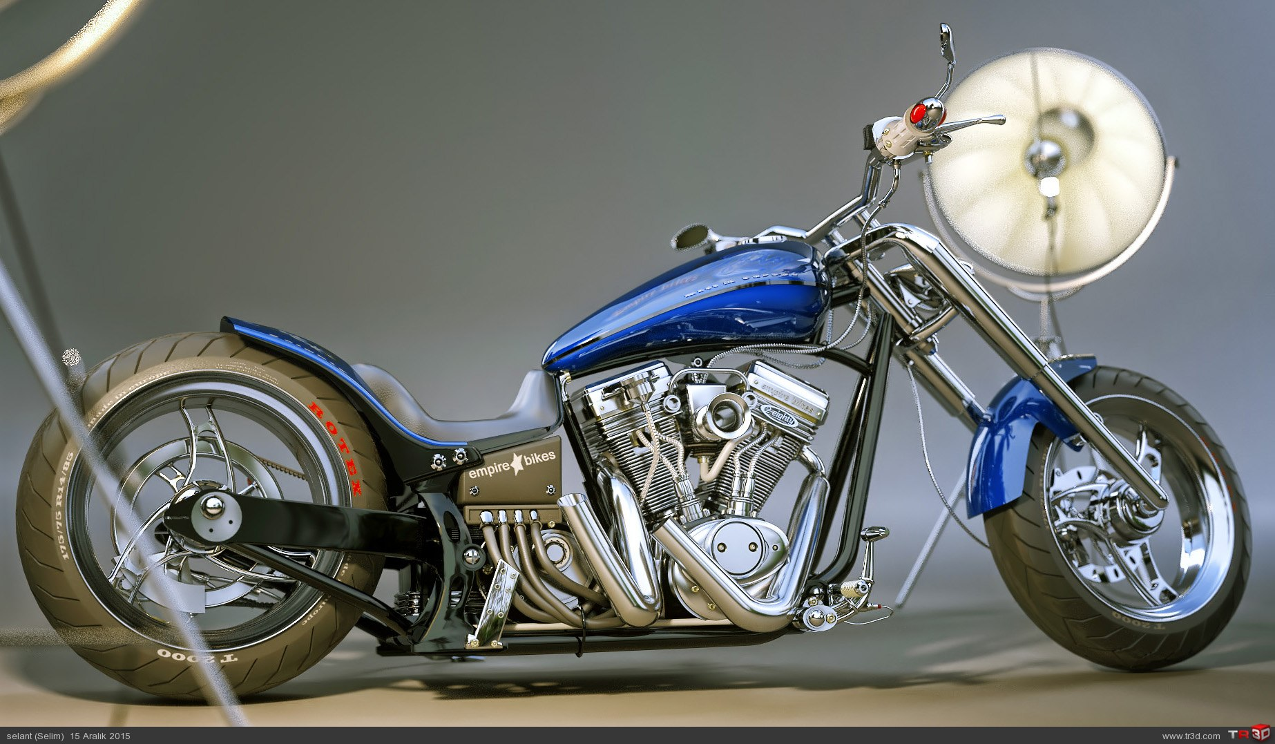Chopper motosiklet stüdyo render 1