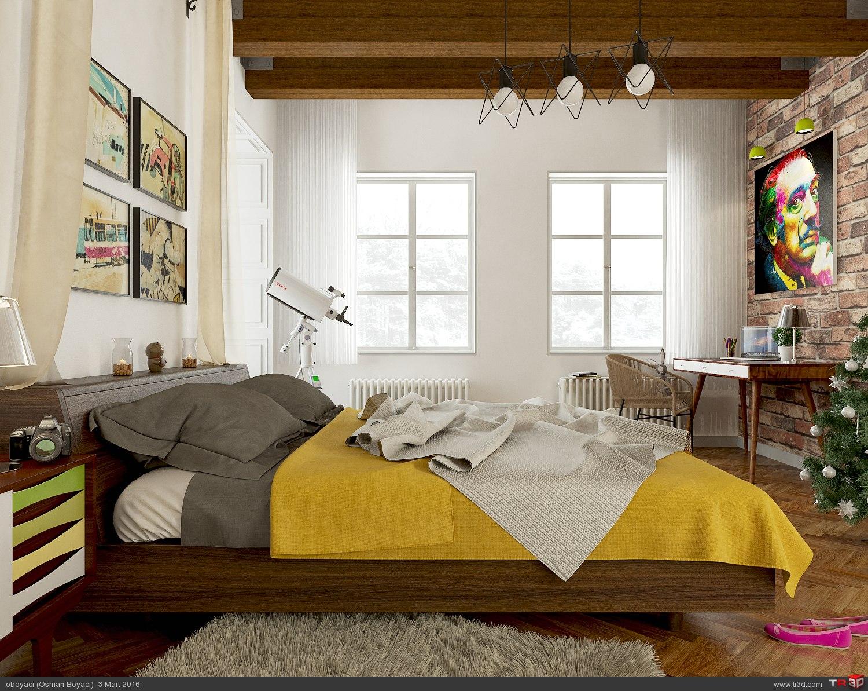 iskandinav yatak odası
