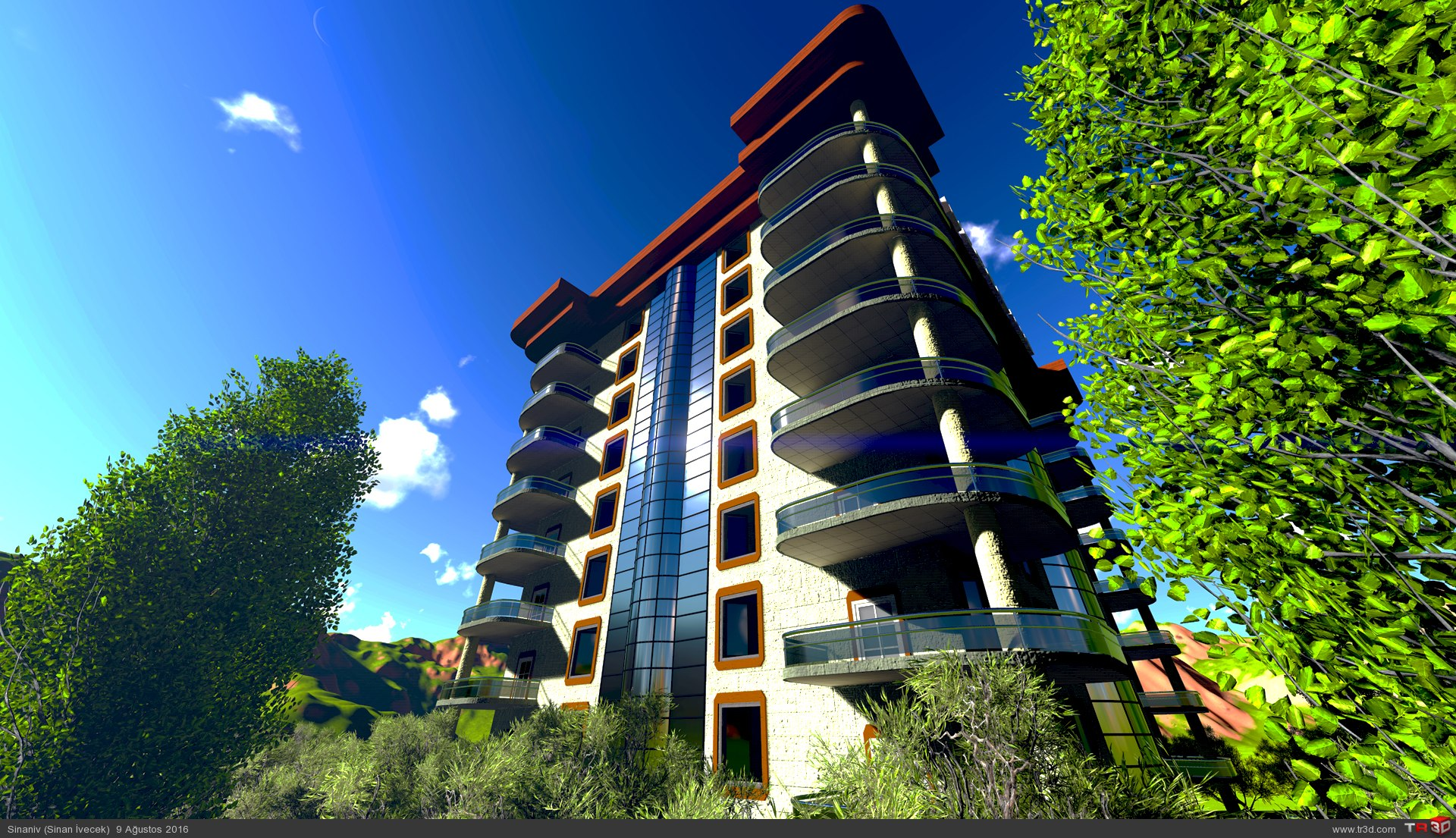 8 katlı apartman modellemesi 2