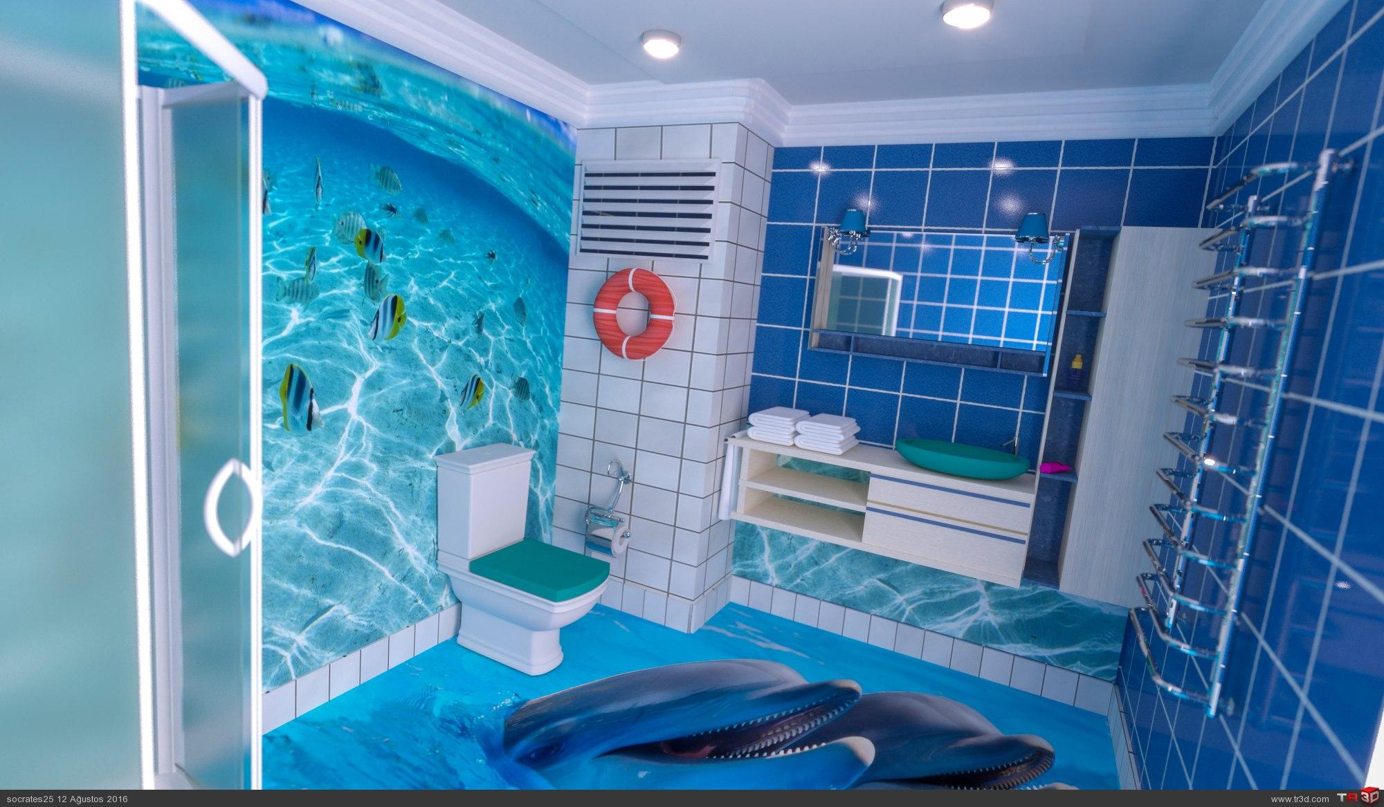 Klasik 3d çıkartmalı banyo