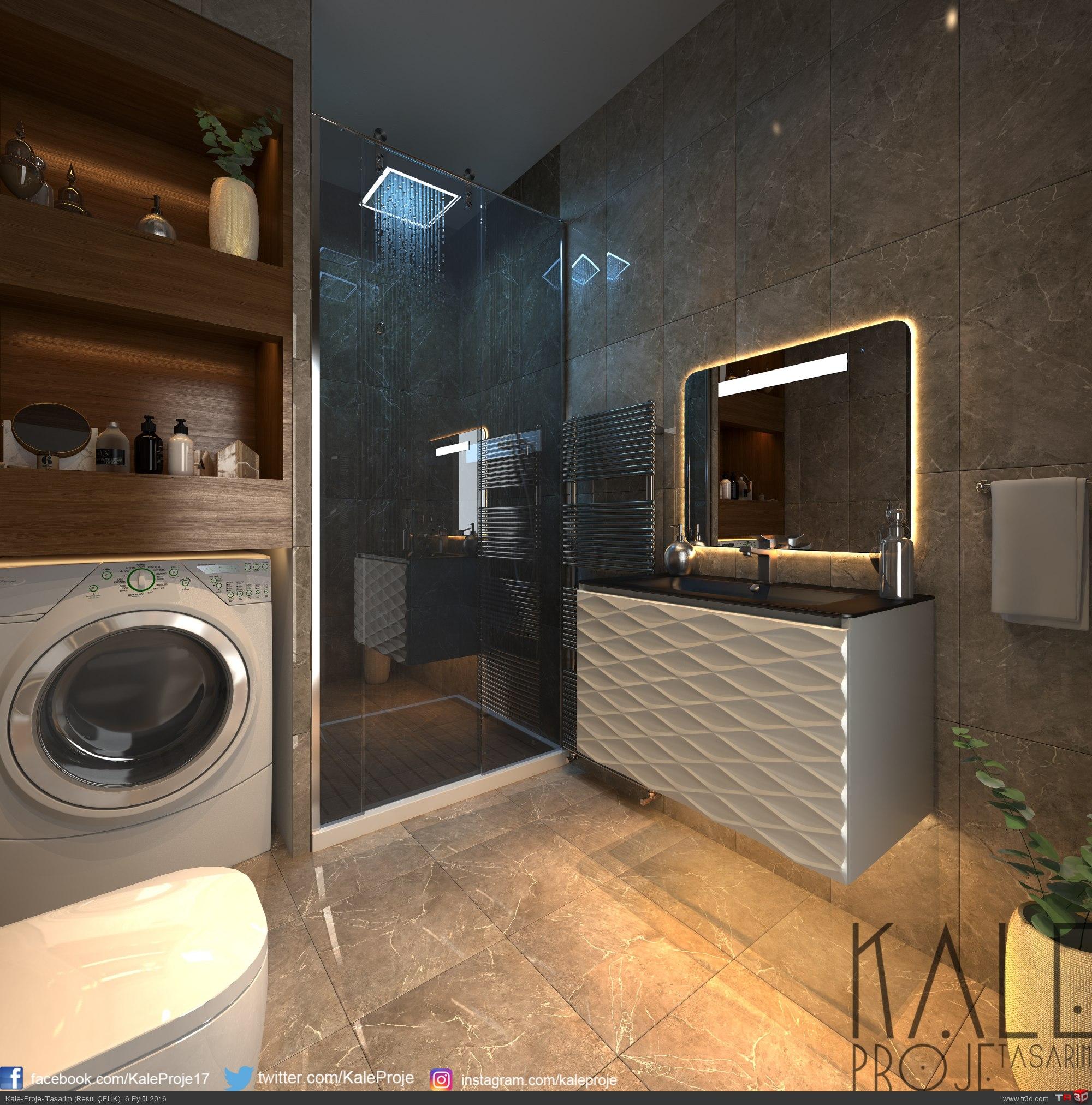 Çanakkale-2016 Banyo tasarım + render.