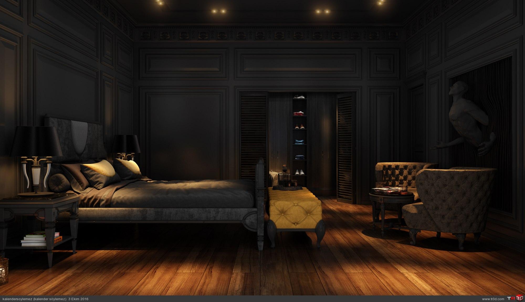 Siyah yatak odası çalışması 2