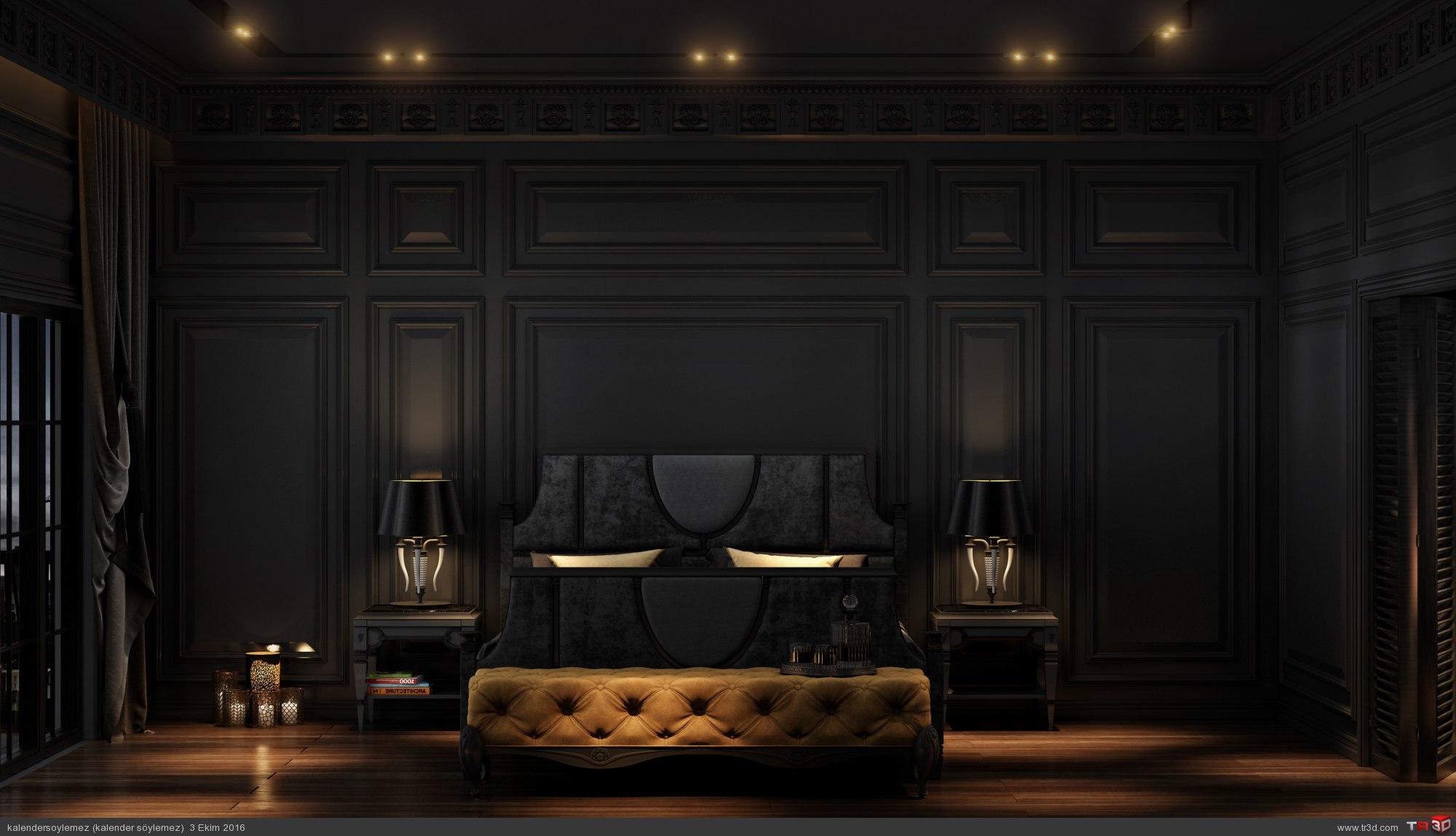 Siyah yatak odası çalışması 4