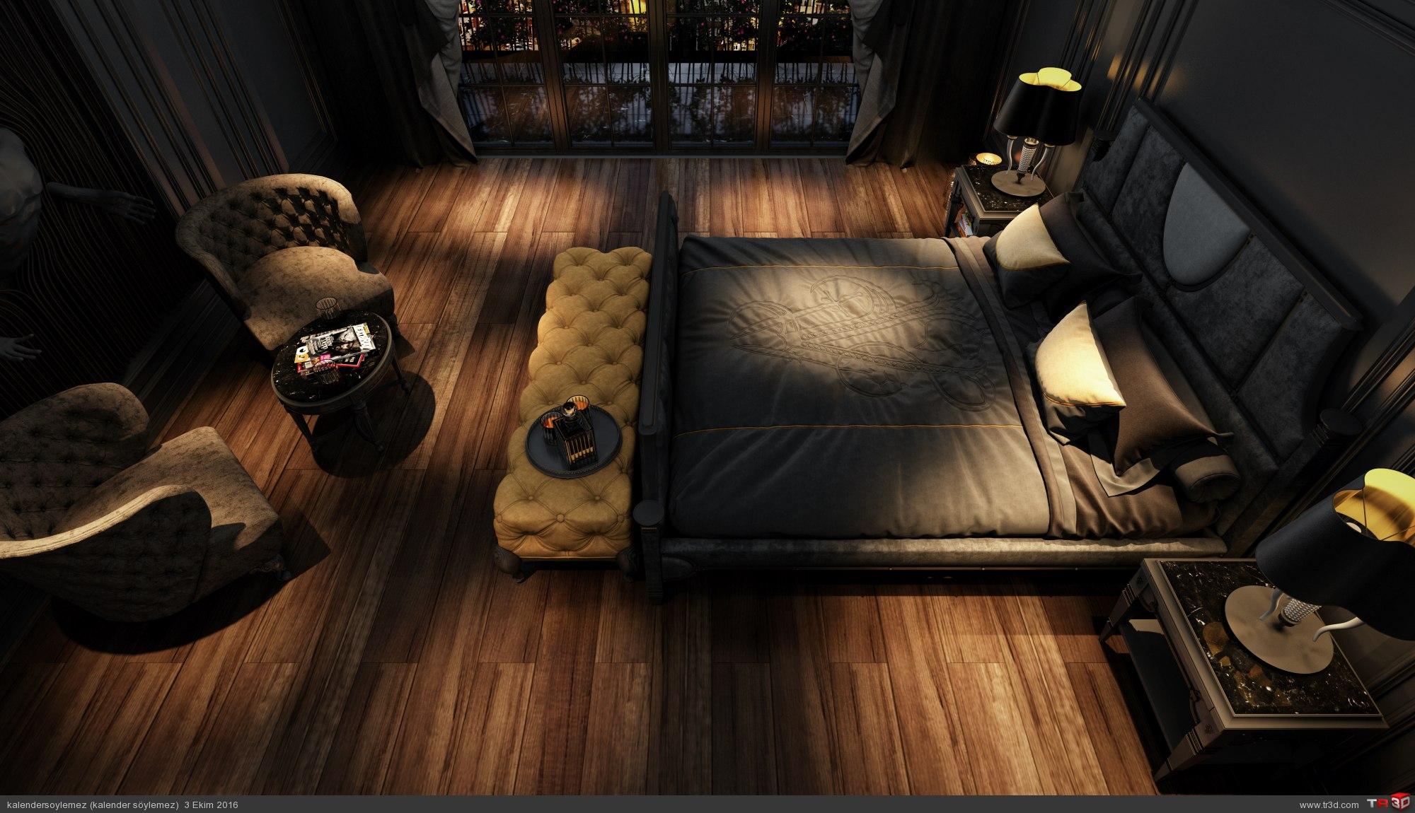 Siyah yatak odası çalışması 5