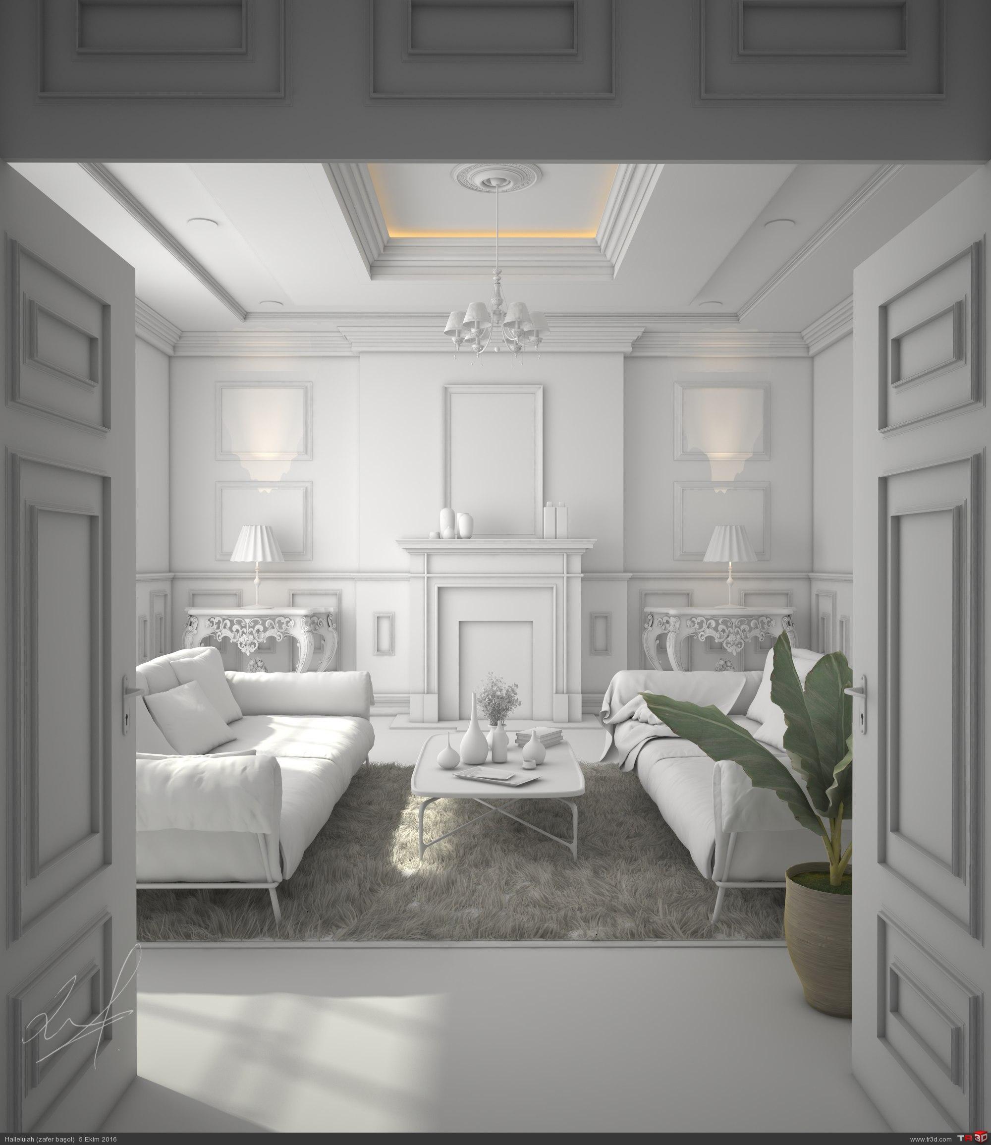 Classic living room interior 1