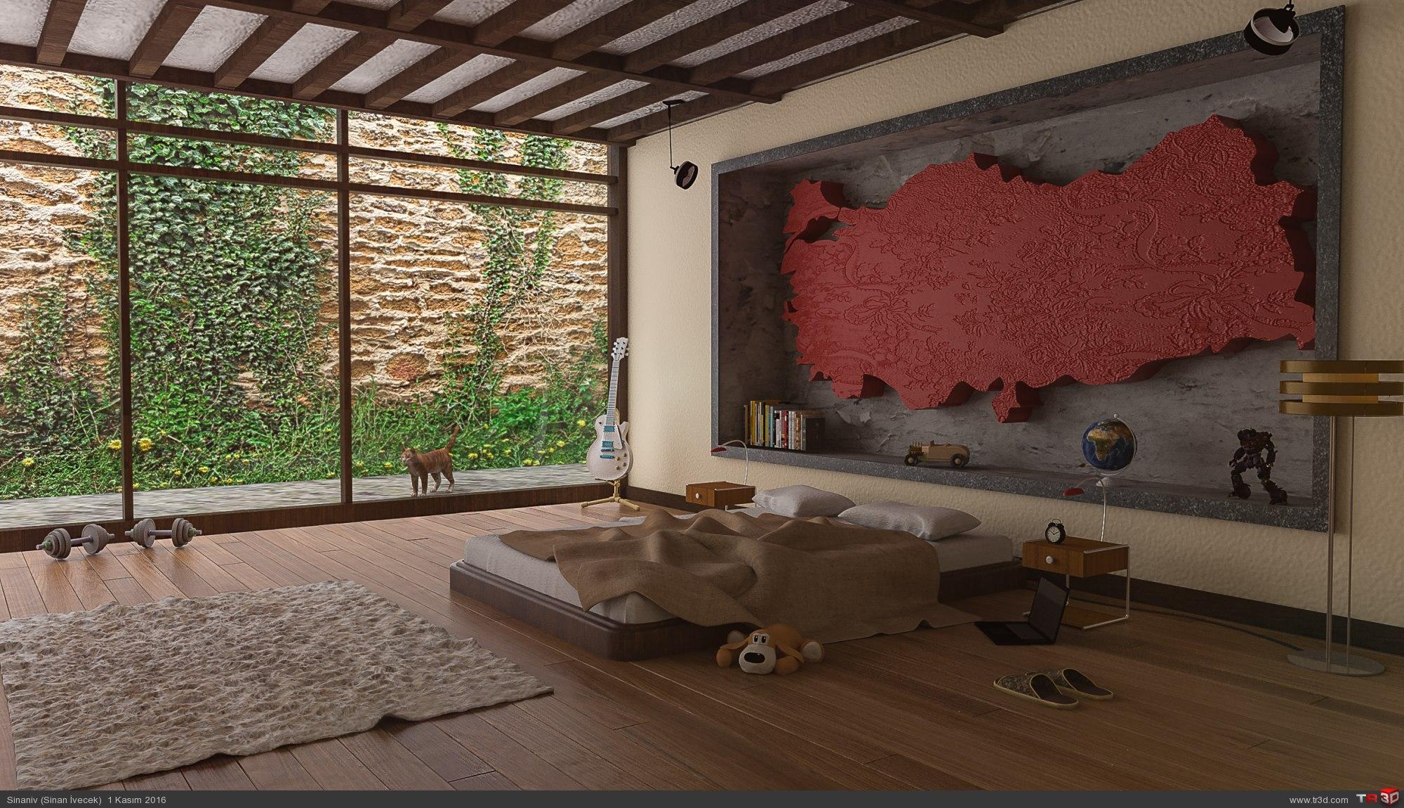 Türkiye haritalı yatak odası