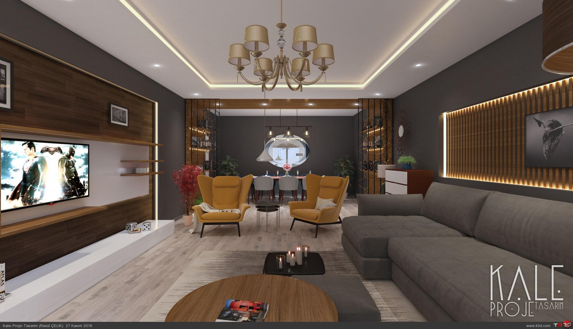 İzmir 2016 Villa Salon renderi. 2