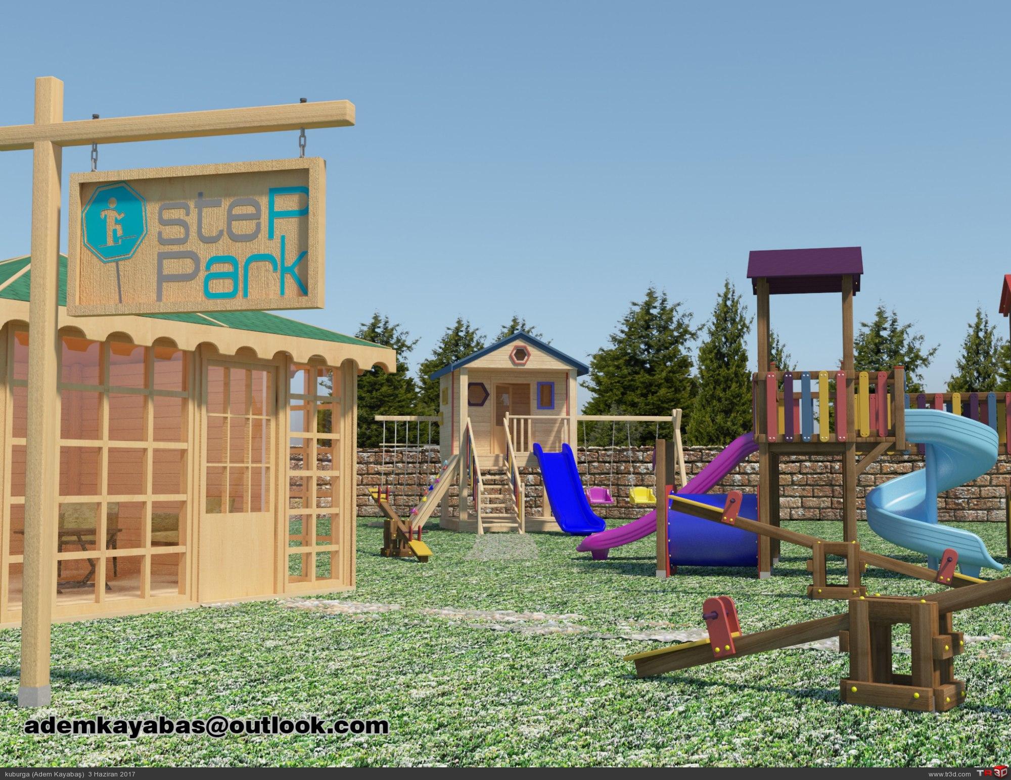Ahşap çocuk oyun parkı ve Kamelya