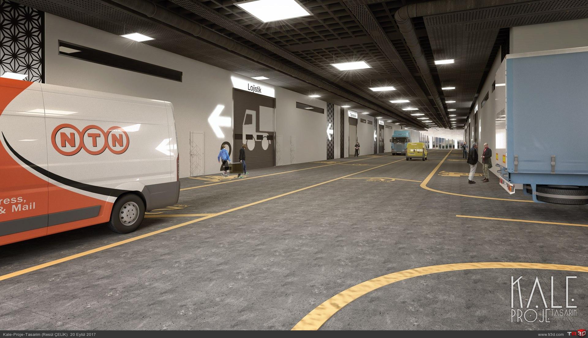 Kale Proje 2017 Depo alanı ve otopark İç mekan renderleri.