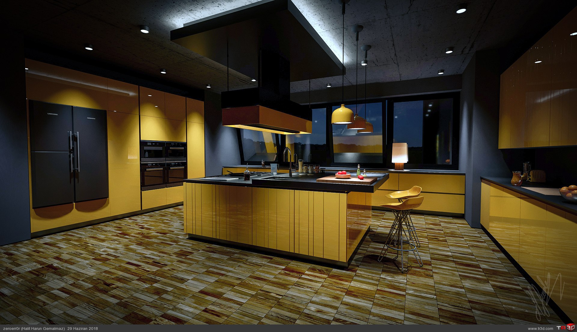 Yellow Kitchen to Night