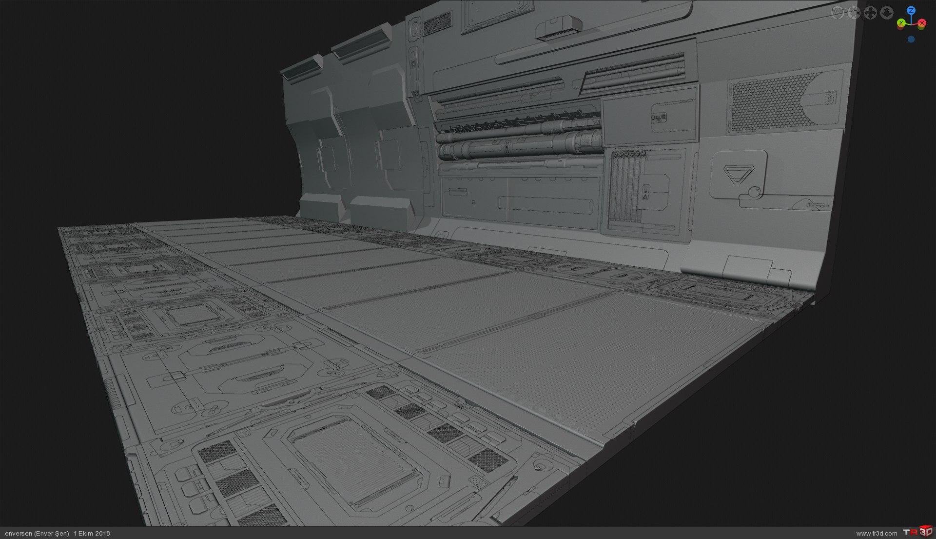 3d Konsept (uzay gemisi içinden bir koridor)