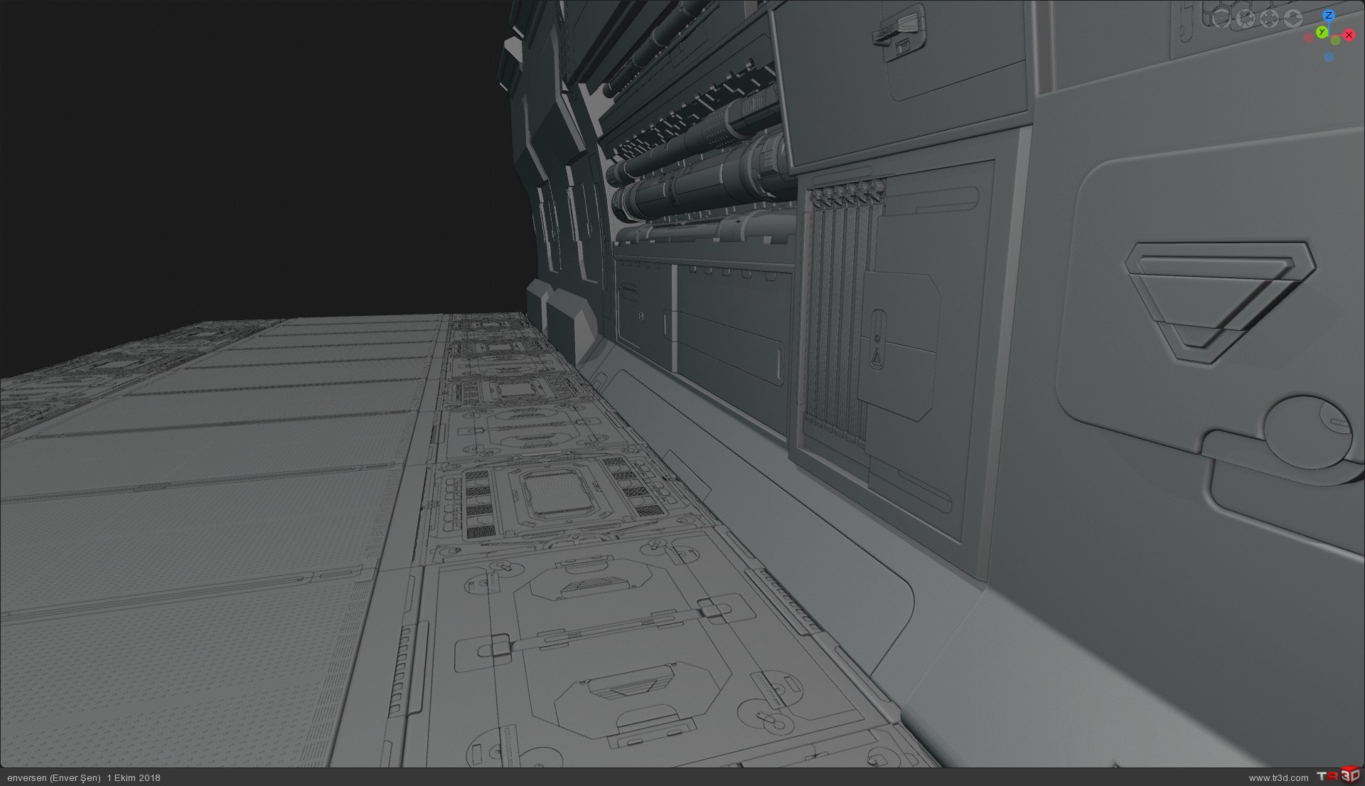 3d Konsept (uzay gemisi içinden bir koridor) 2