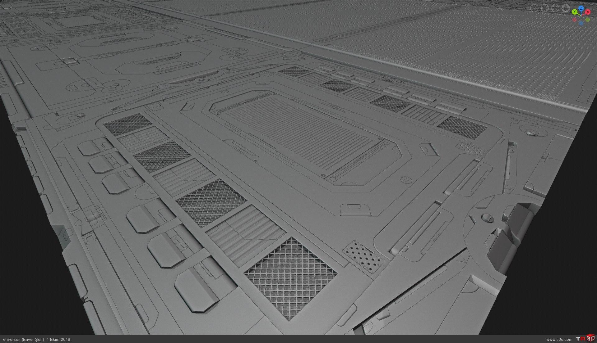 3d Konsept (uzay gemisi içinden bir koridor) 3
