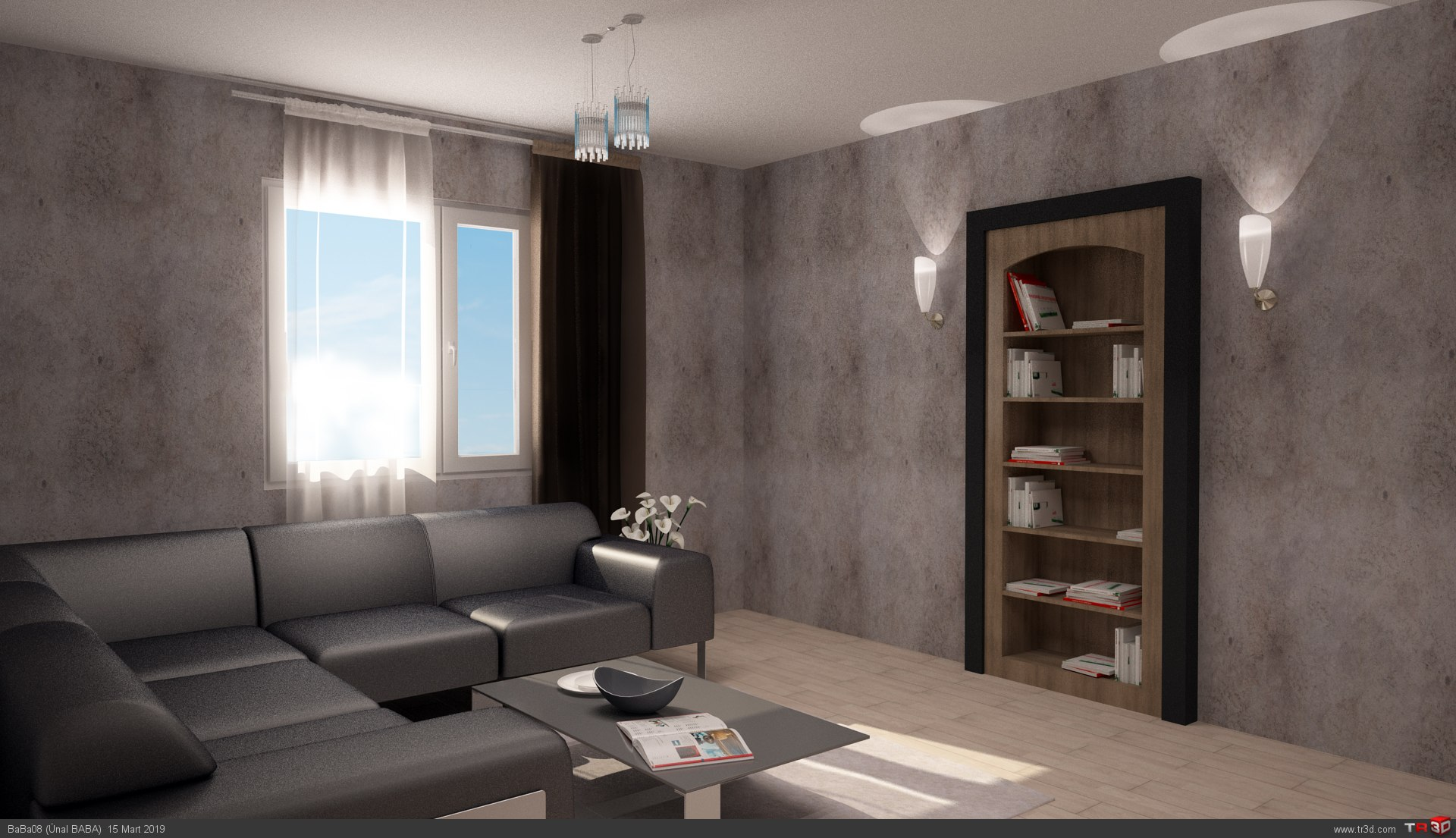 Villa İç Dekorasyonu - Oturma Odası ve Giyinme Odası 1
