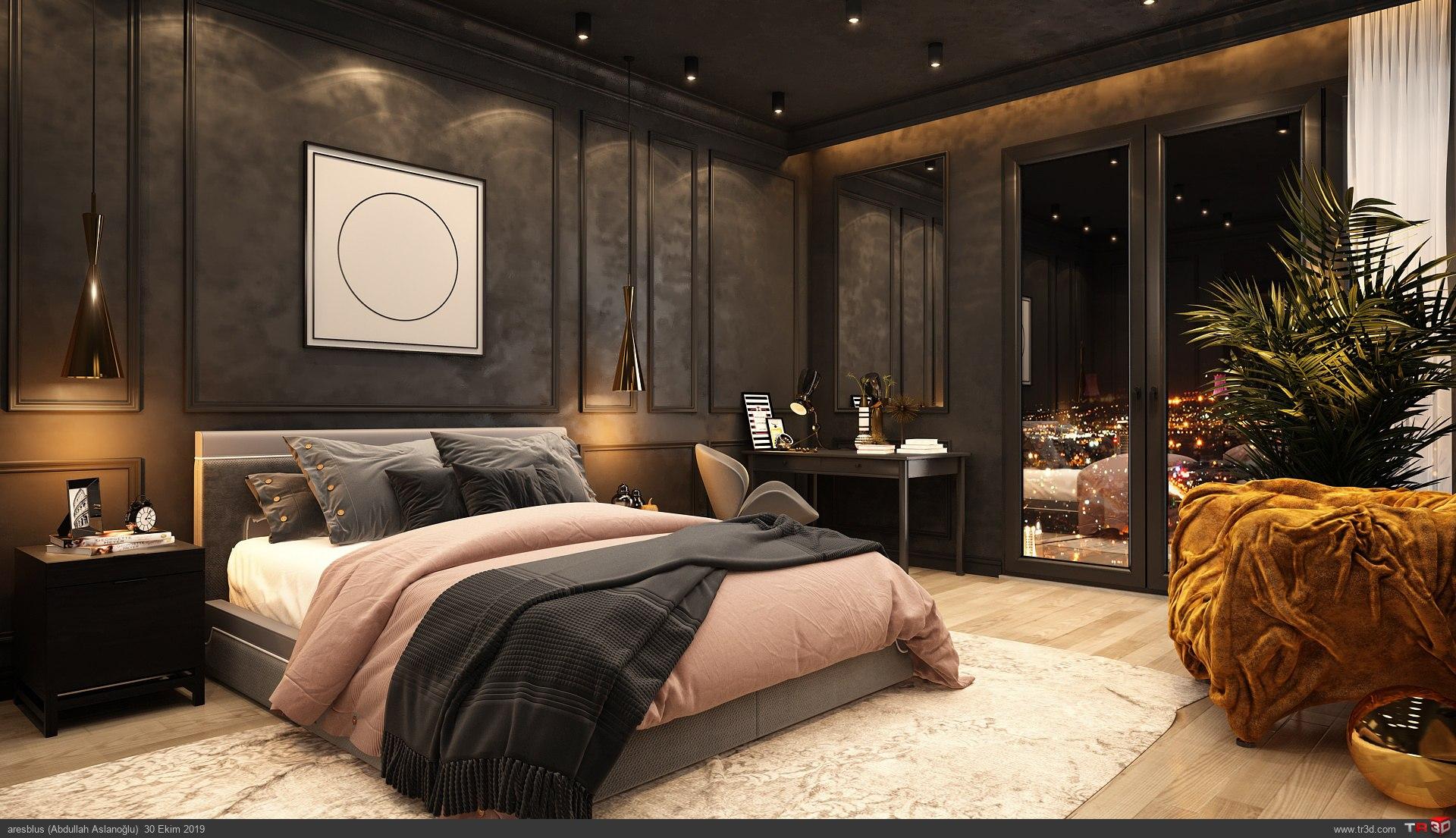Yatak Odası Siyah Consept