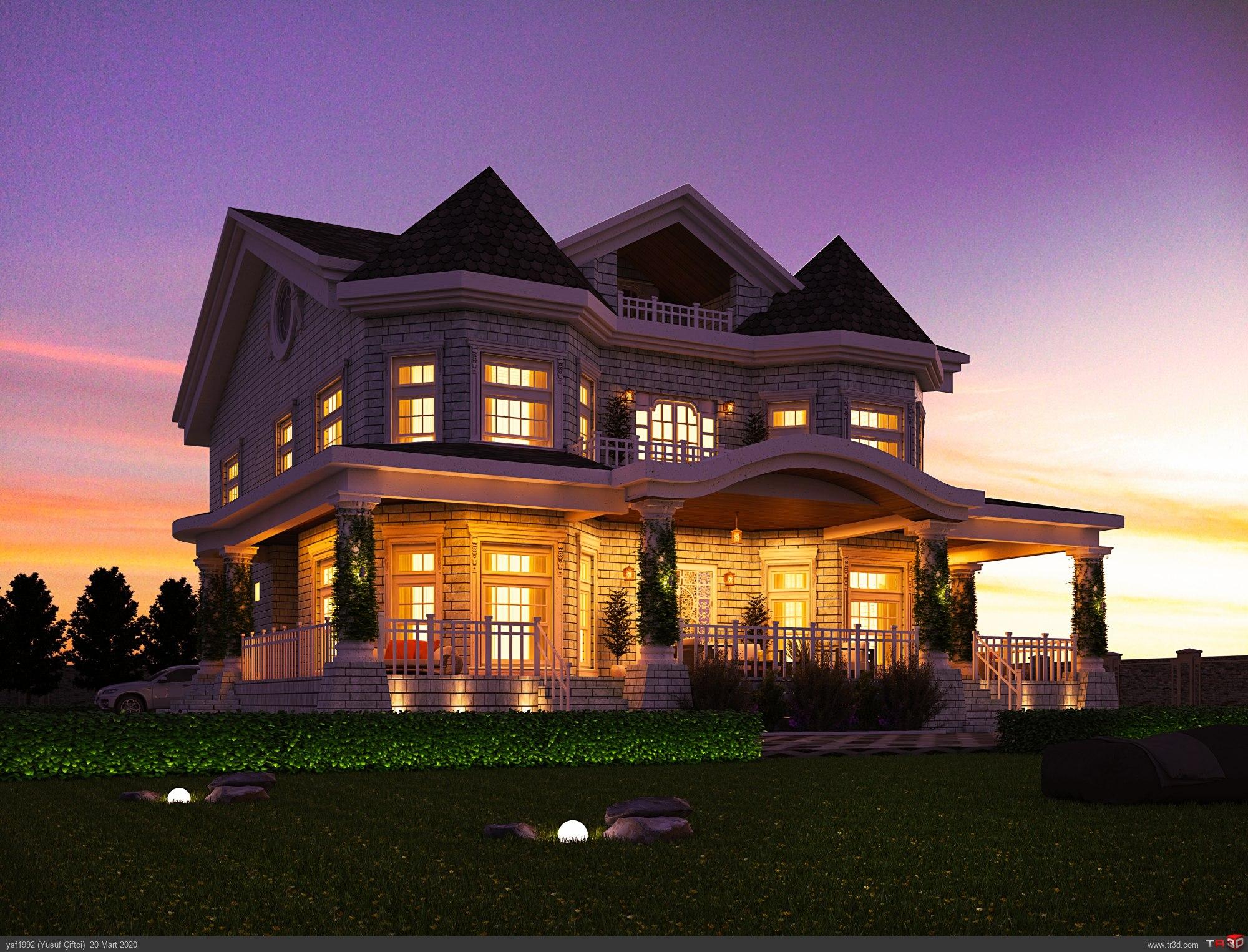 Klasik Villa Gece Çalışması