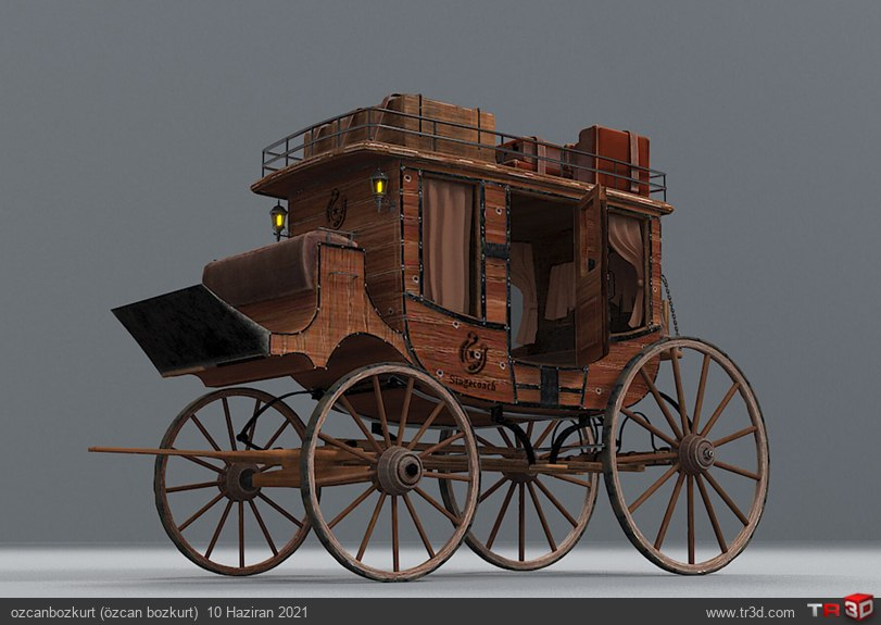 Wild west Stagecoach Low Poly 3d model