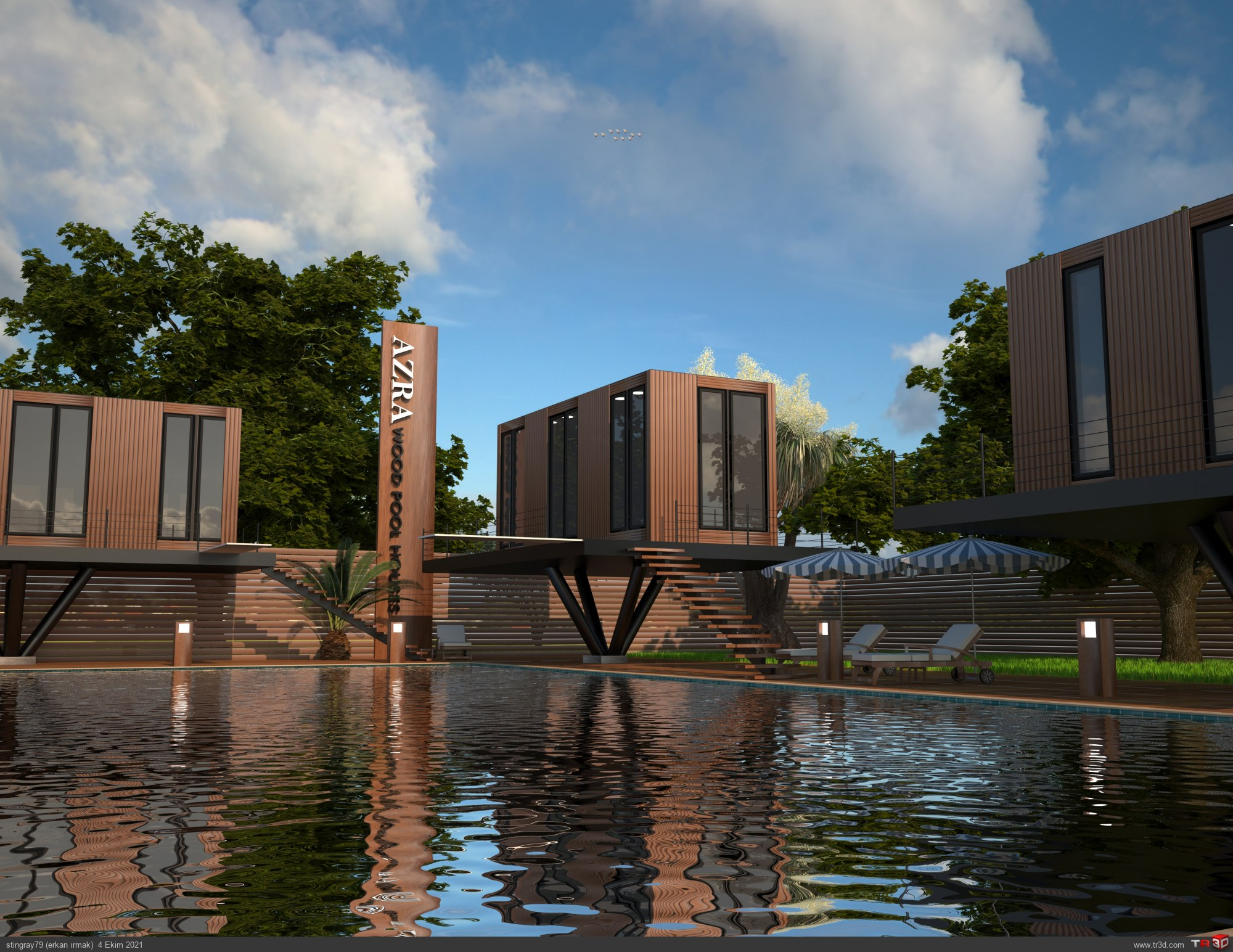 wood pool houses 1